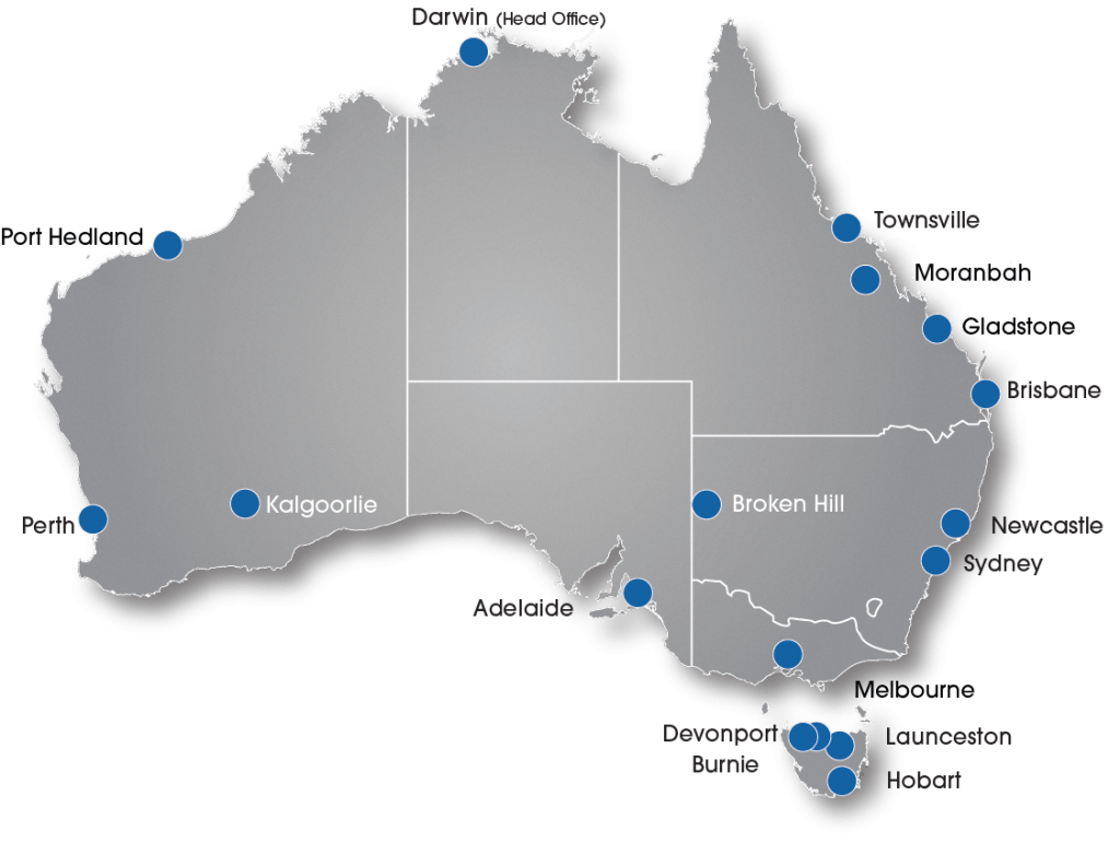 Map of Australia with city pin points